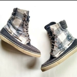 Sperry • flannel plaid sequined high top sneakers